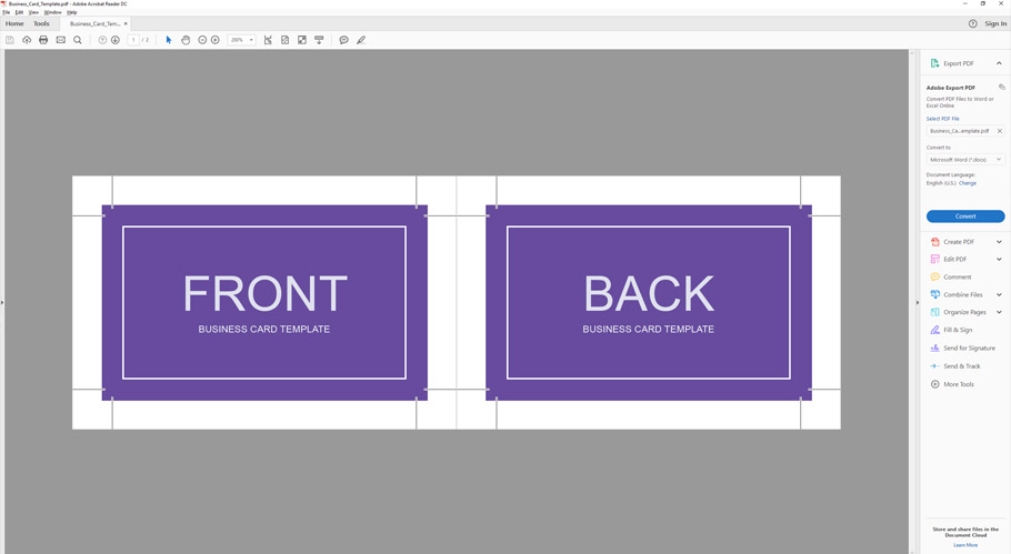 how to make a business card template with bleeds in adobe