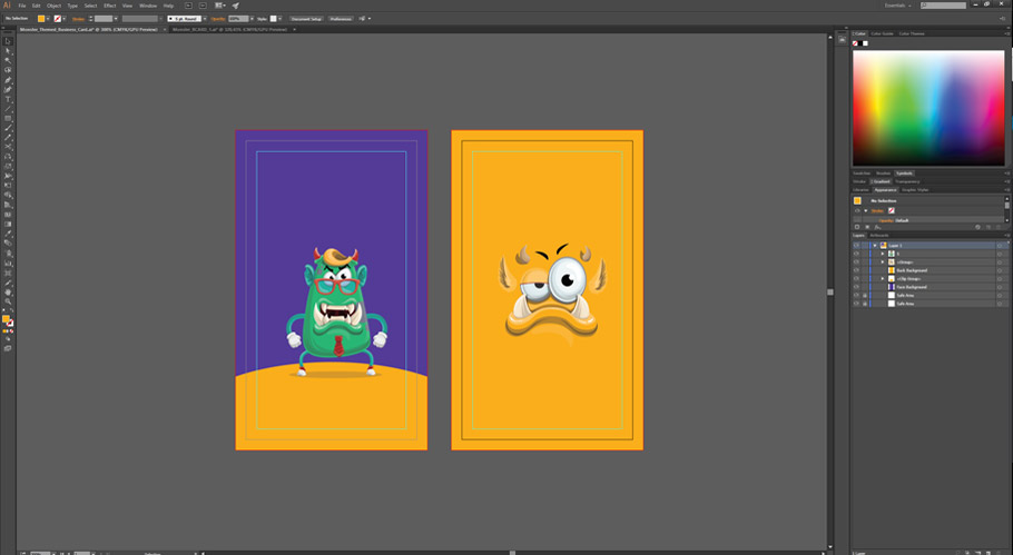 monster business card template placing