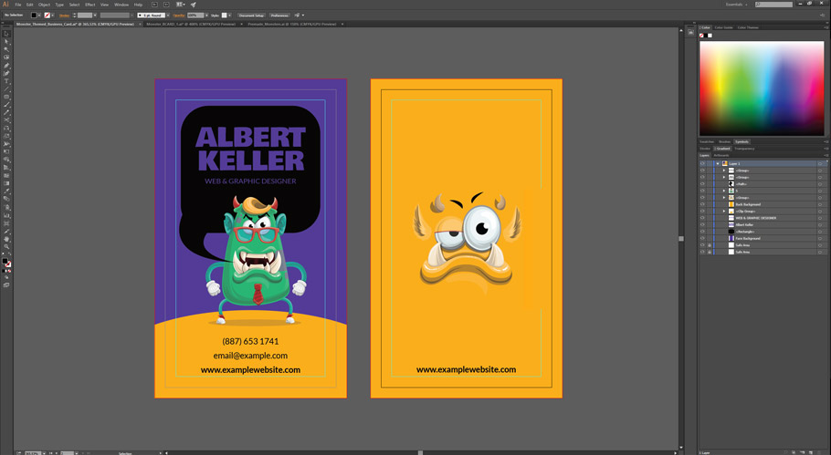 monster business card template contact details